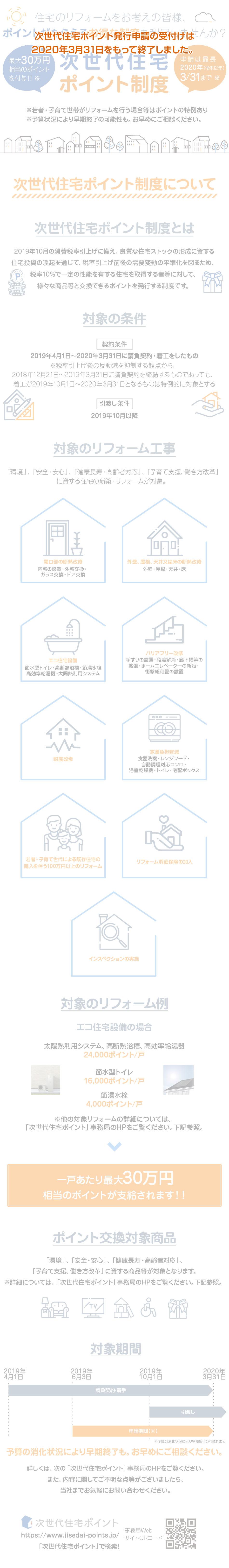 住宅のリフォームをお考えの皆様、ポイントがもらえるお得な制度(次世代住宅ポイント制度)を利用しませんか?